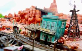 station, rails, tower, Macro