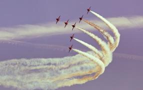 plane in the sky, Sky, show, Smoke