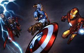 Captain america Iron man and Thor