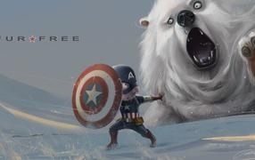 капитан америка, щит, Медведь, Снег, рисунок