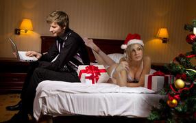 lad, Christmas tree, christmas, кровать
