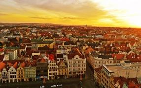 Plzen, Czech Republic, streets, buildings, roofs, Old town
