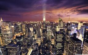 aerial view, city lights, Manhattan, purple sky, Night, Skyscraper