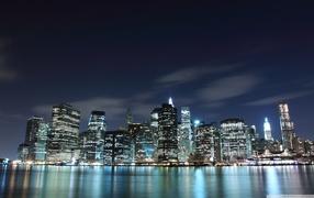 edifices, high-rise, city lights, reflection, Skyscraper