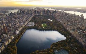 Manhattan, cityscape, central park, aerial view, Skyscraper