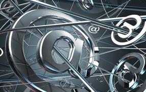 Internet, metal background, mail,  spiderweb, computer