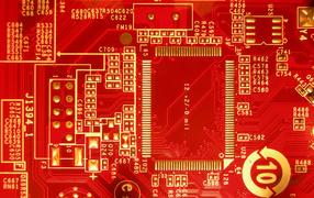 плата, высокие технологии, красный фон