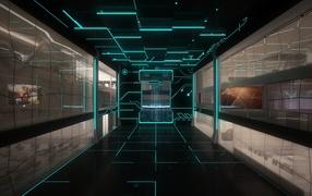 комната, линии, отражение, монитор, свет