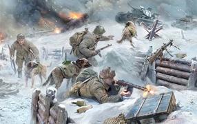 battle, technic, tanks, fire