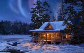 рисунок, Снег, дом, свет