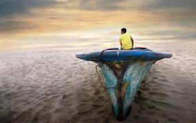 lad, sand, Boat