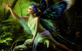 крылья, фея, венок