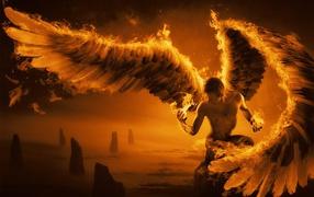 парень, крылья, огонь, свет, рисунок