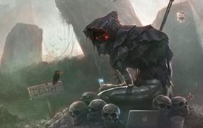 смерть, ворона, Yorick, cмешно, Компьютерное искусство, Скелет