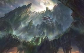fantasy art, canyon, island