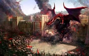 дракон, замок, огонь, Дым
