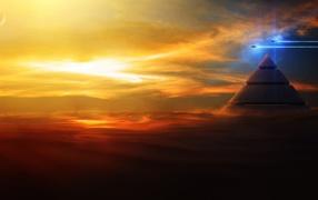 пирамиды, самолет, Небо, свет