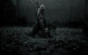 драка, Дождь, Поле, топоры, грязь