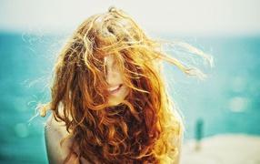 long hair, morning mood, sea