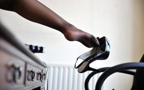 Transparent black stocking on the leg