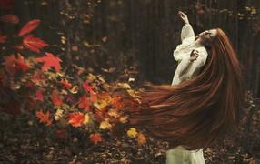 long hair, autumn, leaves