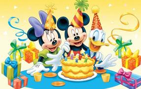 Cartoon characters on birthday