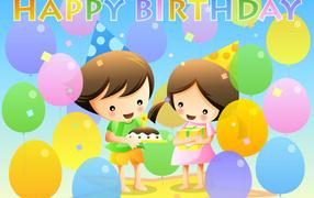 Happy kids on birthday