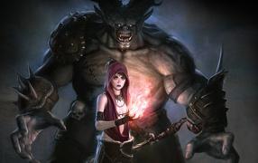 Хэллоуин монстр выходит из темных теней