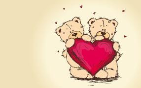 Bear cubs in love