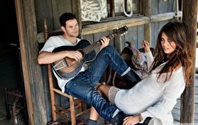 романтический день, пара, песня, Гитара, влюбленные