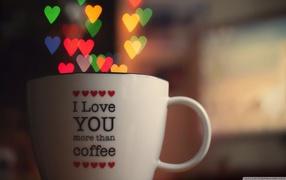 i love you, hearts, romance, cup, Coffee