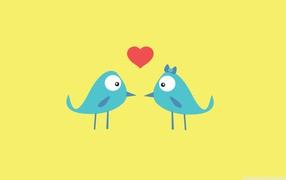 birds in love, blue birds, red heart