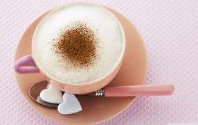 Капучино, кофейный напиток, белые сердечки, маленькая чашка, Кофе