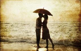 cute couple, sea, umbrella, lovers