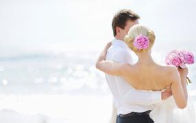marriage, cute couple, bouquet, lovers, Bride