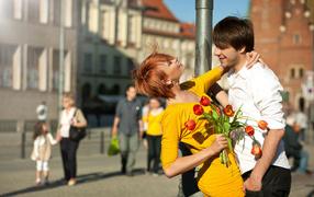 cute couple, Street, lovers, lovers
