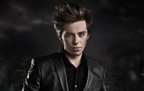 lad, Look, jacket, Black background
