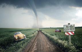 Road, wind, Field,  storm cloud