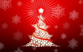 Новогодняя ёлка на красном фоне
