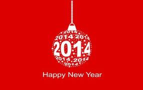 Счастливого Нового Года, красно-белый рисунок