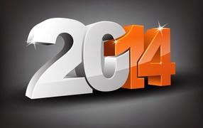 Новый год 2014 на сером фоне