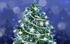 New year tree with white stars 2014