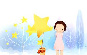 Девочка, звезды, рисунок