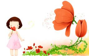 picture, Little girl, flower