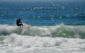 blue sea, Surfing, surfer riding a wave, catch a wave, Wave