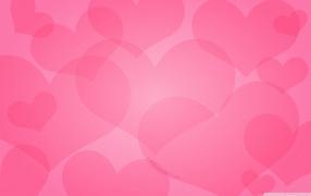 розовый фон, сердечки, символ любви, любовь в воздухе