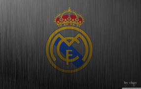 герб, Реал Мадрид, испанский футбольный клуб, фон металла, Реал Мадрид