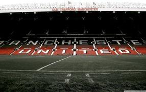 футбольное поле, разметка, Манчестер Юнайтед, английский футбольный клуб, футбольная арена
