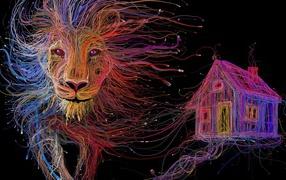Лев и дом из проводов