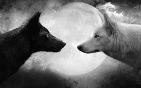 Волки на фоне луны